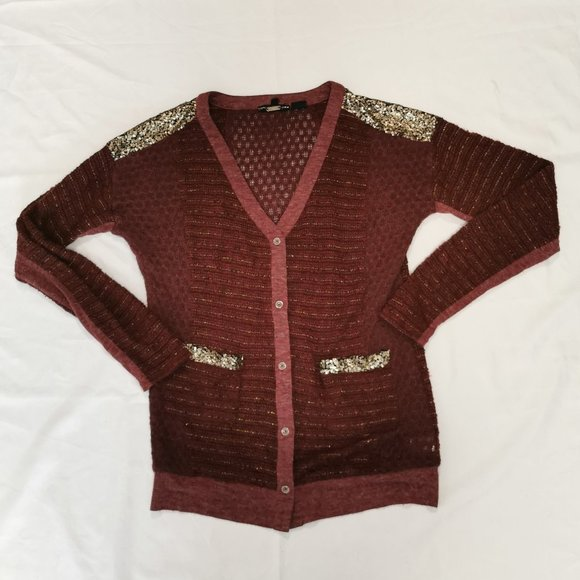Miss Me Sweaters - Miss Me   Red Boucle Sequin Cardigan Sweater